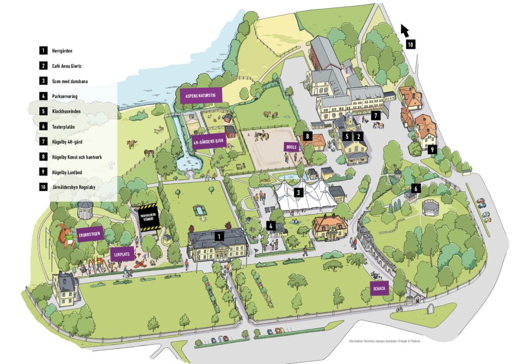 Översiktskarta Hågelbyparken