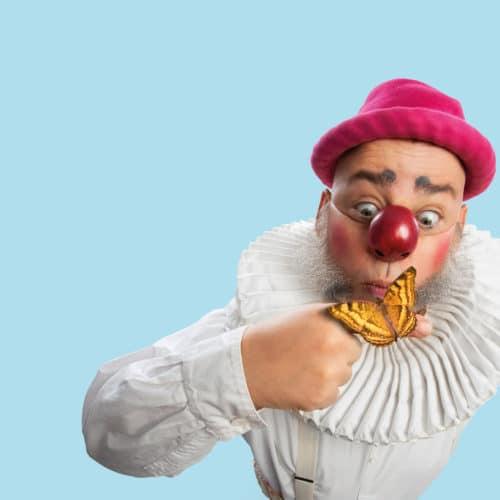 Nalle Clown med en rosa hatt och en orange fjäril